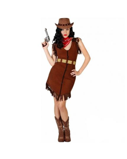 Costume Cowgirl Marrone con Frange Donna