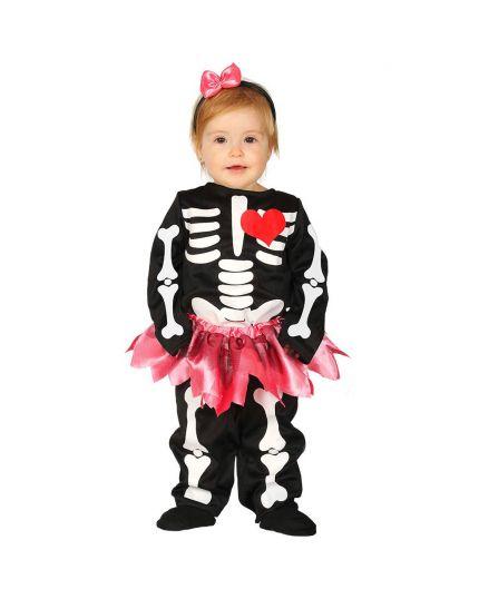 Costume Scheletro con Gonnellina Rosa Baby