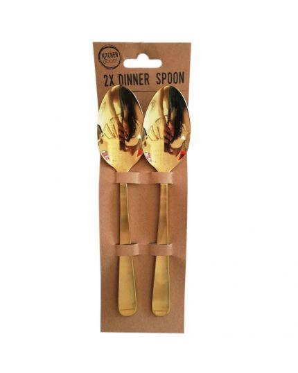 Cucchiai Acciaio Inox Oro 2pz 20cm