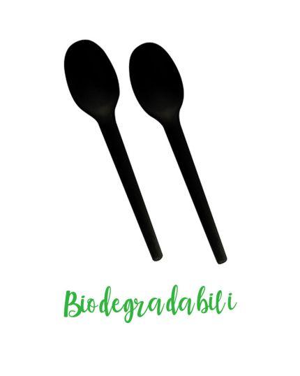 Cucchiai in Bio-Plastica Biodegradabile Neri Pap Star Pure 100pz