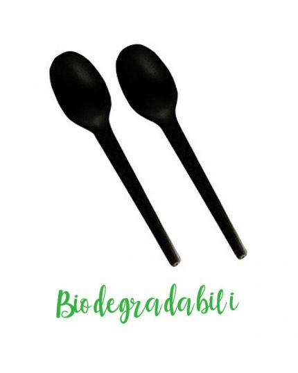 Cucchiaini in Bio-Plastica Biodegradabile Neri Pap Star Pure 100pz