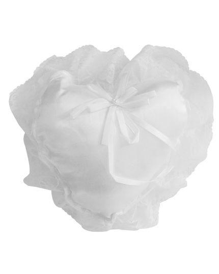 Cuscino per Fedi Matrimonio Forma Cuore in Raso Bianco con Pizzo 16x17cm