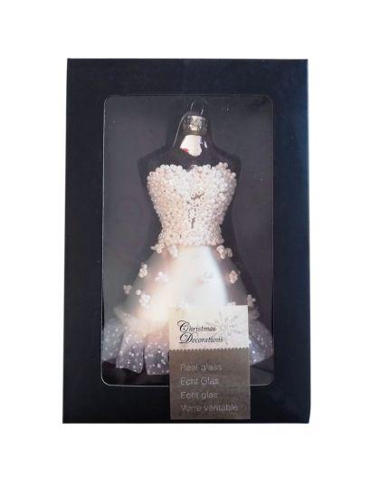 Decorazione Vetro Busto Ballerina Principessa con Pizzo e Perline 11cm