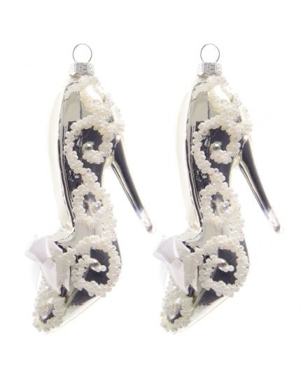 Decorazioni Vetro Scarpe con Tacco Perline e Strass 13cm