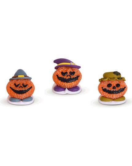 3 Decorazioni Torta in Zucchero e Gelatina Zucca Halloween 4x5cm