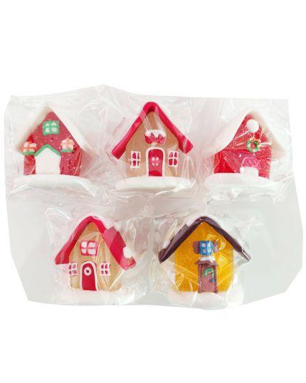 5 Decorazioni Torta in Zucchero e Gelatina Casette Innevate 4,5cm