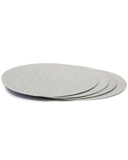 Disco Cartone Argentato Rotondo per Torte Altezza 3mm Decora Diverse Dimensioni
