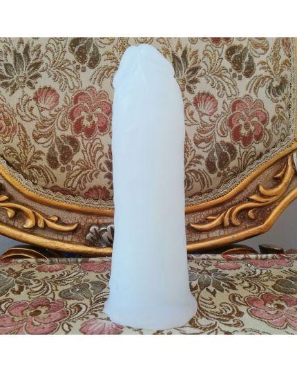 Fallo Pene Realistico L Silicone Alta Qualità Bianco 18cm Diametro 6,4cm con Foro per Strapon