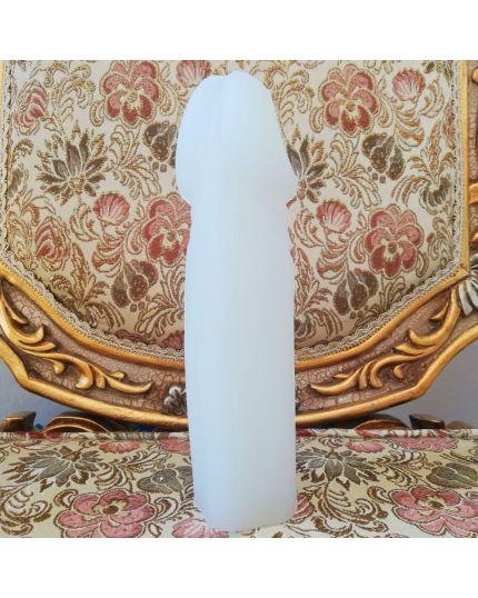 Fallo Pene Realistico Silicone Alta Qualità Bianco XXL 22cm Diametro 5,5cm con Foro per Strapon