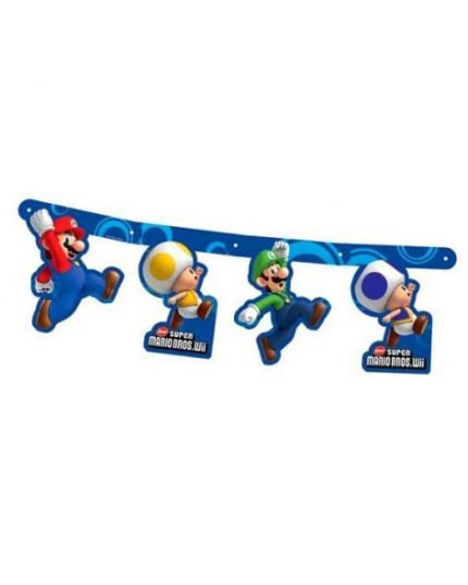 Festone Carta Super Mario Blu