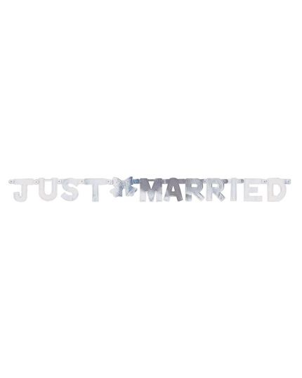 Festone Carta Just Married Argento