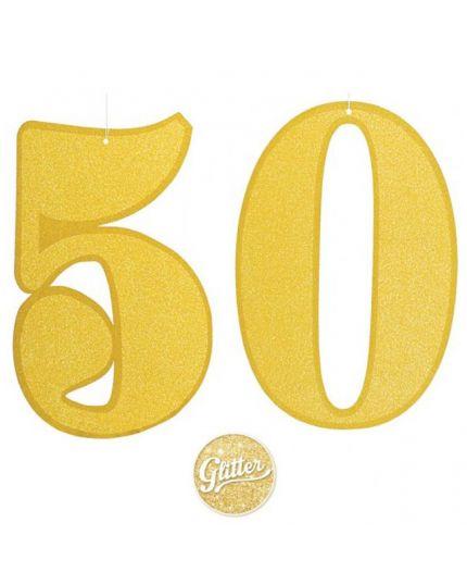 Festone Carta Numero 50 Glitter Oro