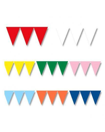 Festone Bandierine Colorate Tinta Unita Pvc