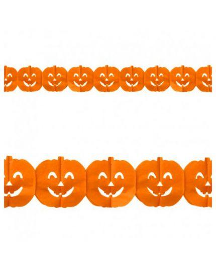 Festone Carta Zucca Halloween Arancione