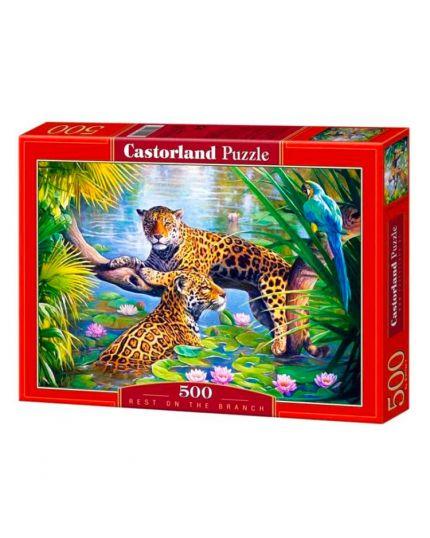 Puzzle Leopardi Sul Ramo 500 Pezzi 47x33 Cm
