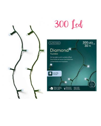 Filo Verde con Luci LED Diamond Colorati 300 Luci 2990cm