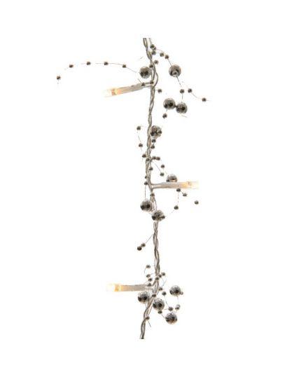Filo Ghirlanda con 30 Luci LED e Decorazioni Argento 180cm