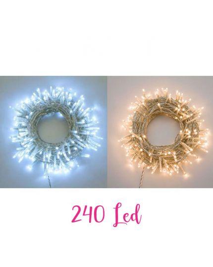 Filo Trasparente 240 Luci LED Colorate 12 Metri