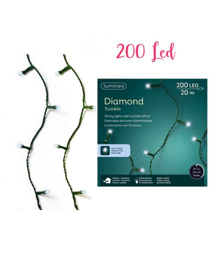 Filo Verde con Luci LED Diamond Colorati 200 Luci 1990cm