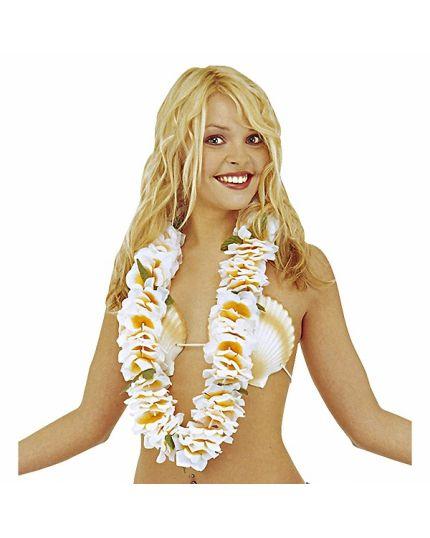 Collana Hawaiana Con Fiori Bianchi