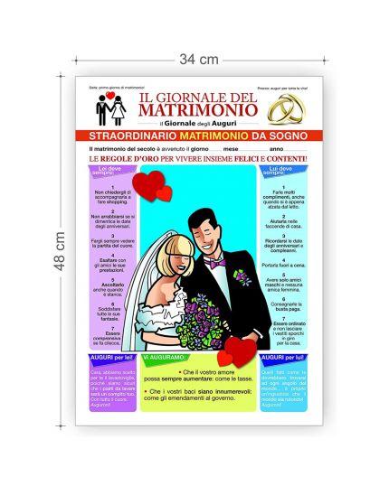 Maxi Biglietto Auguri Il Giornale del Matrimonio con Busta 48x34cm