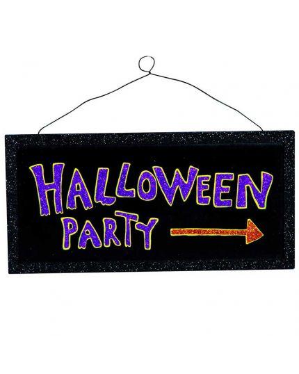 Scritta Halloween Party Glitter Legno