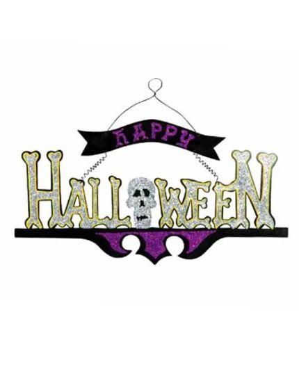 Scritta Happy Halloween Glitter Legno