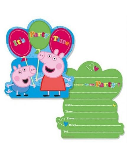 Inviti Festa Peppa Pig It's Party Time con Busta 6pz