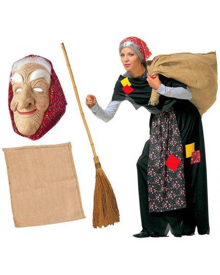 Costume Befana Kit Completo con Maschera, Sacco e Scopa