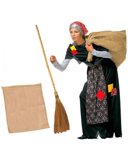Costume Befana Kit con Sacco e Scopa