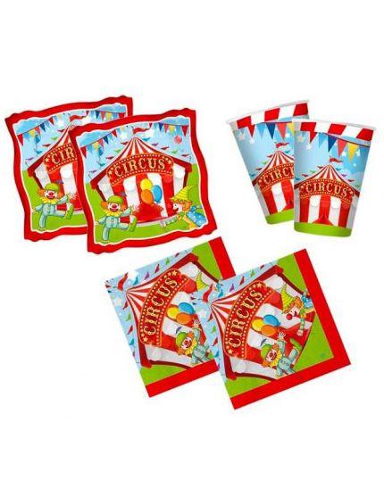 Kit Coordinato Tavola Circus Clown per 16 Persone
