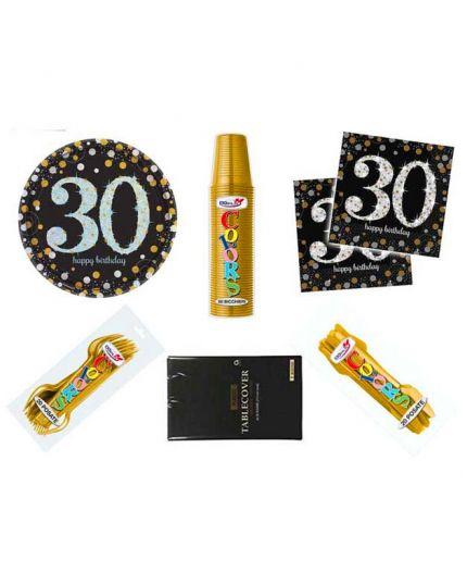 Kit Coordinato Tavola Compleanno 30 Anni per 32 Persone
