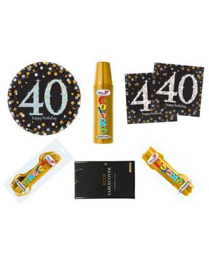 Kit Coordinato Tavola Compleanno 40 Anni per 32 Persone