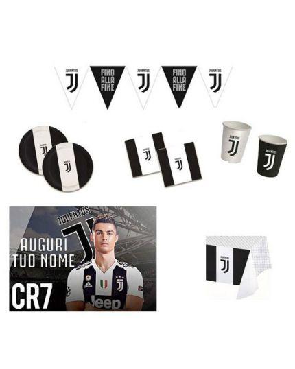 Kit Coordinato Tavola Juventus con Cialda Ronaldo per 24 Persone