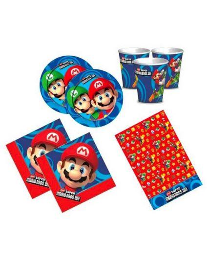 Kit Coordinato Tavola Mario Bros per 16 Persone