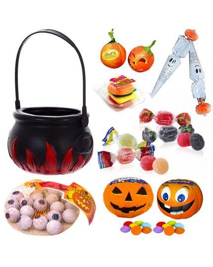 Kit Halloween Pentolone Portadolcetti e Dolcetti Assortiti