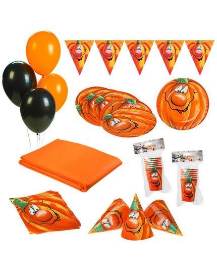 Kit Coordinato Tavola Halloween Zucca per 12 Persone