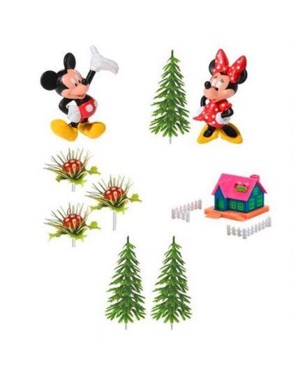 Kit Decorazione Torta Pvc Mickey Topolino e Minnie con Casetta 10pz