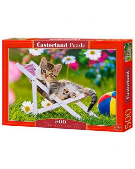 Puzzle Gattino Con Palla Giocattolo 500 Pezzi 47x33 Cm