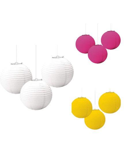 Lanterne Colorate in Carta Rotonde da Appendere 24cm 3pz