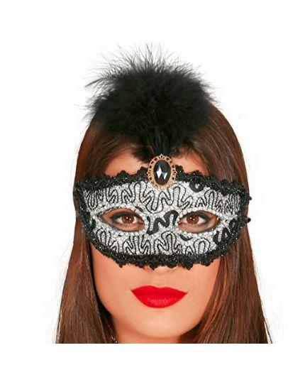 Maschera Argento Decorata con Gemma e Piuma