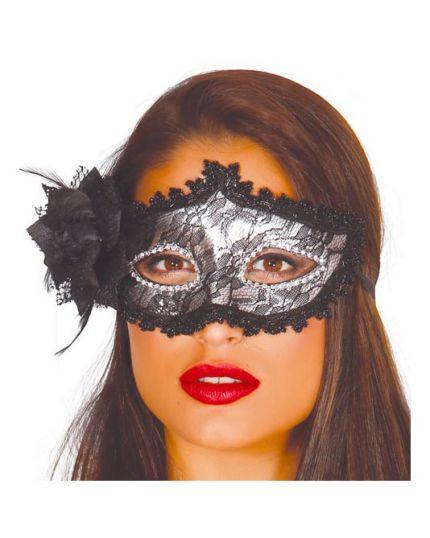 Maschera Argento con Pizzo e Rosa Nera