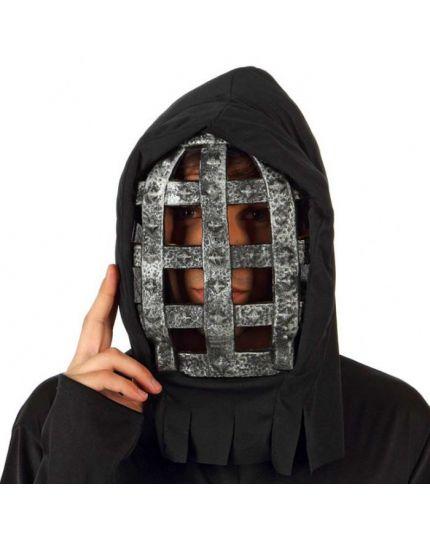 Maschera Gabbia Nera e Argento con Cappuccio