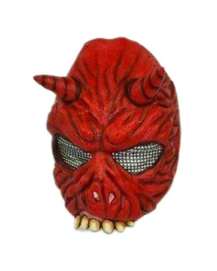 Maschera Lattice Diavolo Mezzo Viso Rossa
