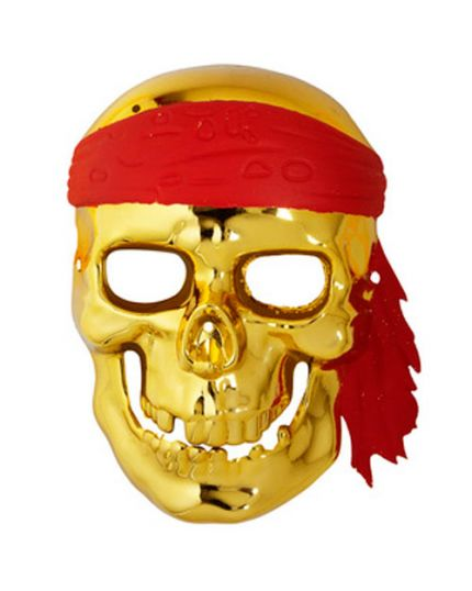 Maschera Pvc Teschio Pirata Oro Metallizzato