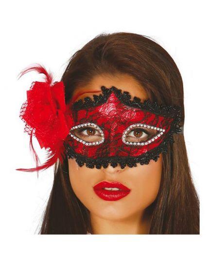 Maschera Rossa con Pizzo e Rosa Nera