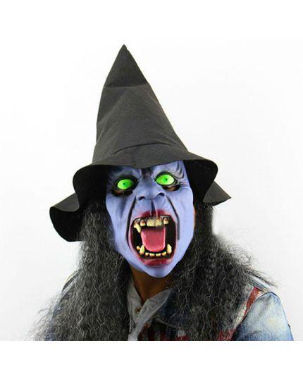 Maschera Lattice Strega con Cappello, Capelli e Occhi Luminosi