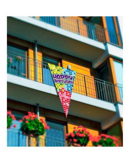 Bandierina Gigante Scenario Happy Birthday Multicolor 90x150cm