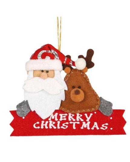 Decorazione Merry Christman in Pannolenci con Renna e Babbo Natale 14cm