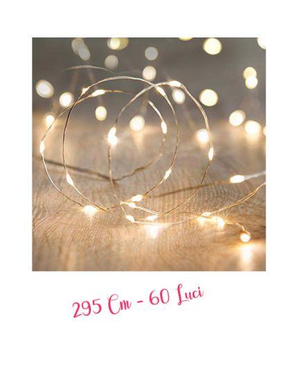 Filo Argento con Micro LED Colorati 60 Luci 295cm